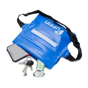 Blue Puffin Waist pouch showing contents
