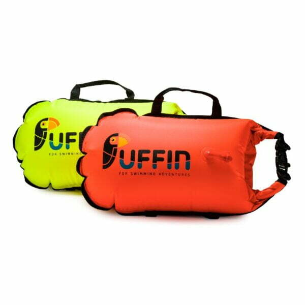 Drybag floats made from recycled plastic in orange and neon yellow